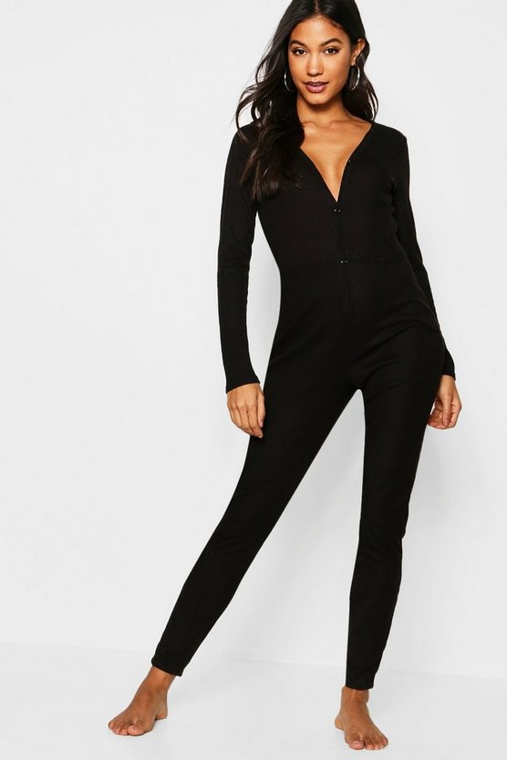 Black Rib Supersoft Lounge Onesie