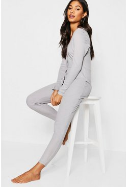 Womens Grey Rib Supersoft Lounge Onesie
