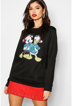 Womens Black Disney Christmas Mickey & Donald Sweatshirt