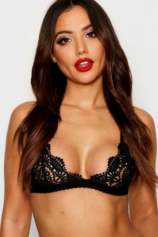 Womens Black Lace Bralet