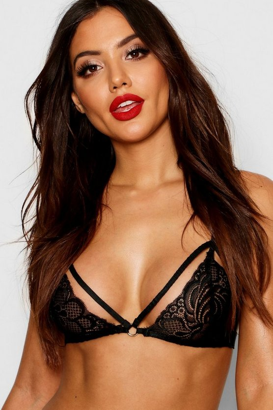 Womens Black Lace Bralet With Strapping