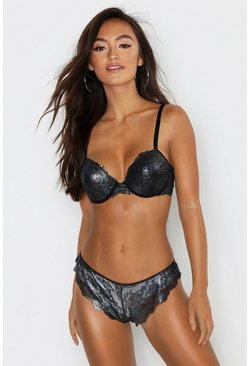 Womens Black Metallic Lace Push Up Bra
