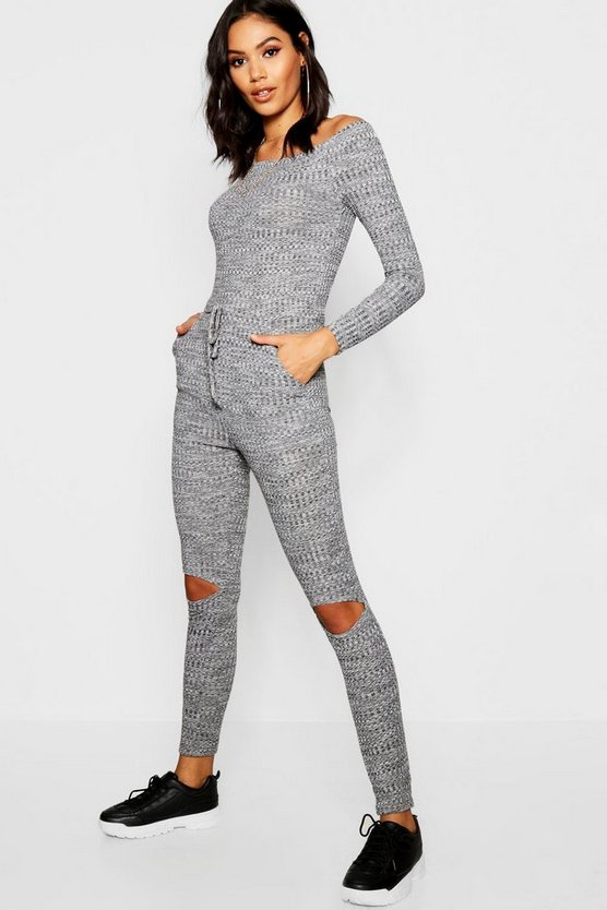 Womens Grey Melange Lounge Jumpsuit