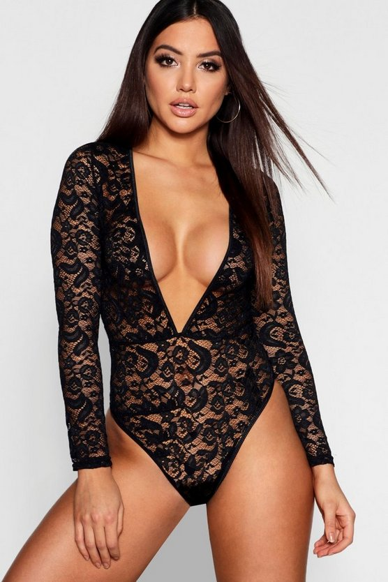 Womens Black Lace Plunge Long Sleeved Body