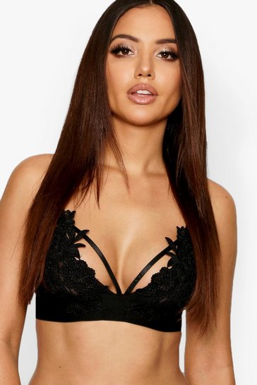 Womens Black Applique Strapping Bralet