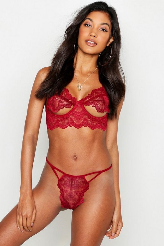 Fan Lace Cutout Thong