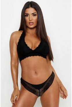 Womens Black Cross Back Cut Out Brazilian