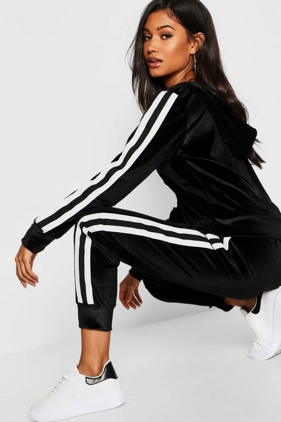Womens Black Velvet Sports Trim Zip Through Lounge Tracksuit
