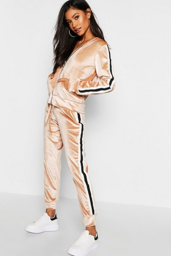 Velvet Sports Trim Zip Through Lounge Tracksuit