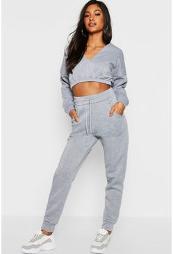 Womens Grey V Front Crop and Jogger Lounge Set