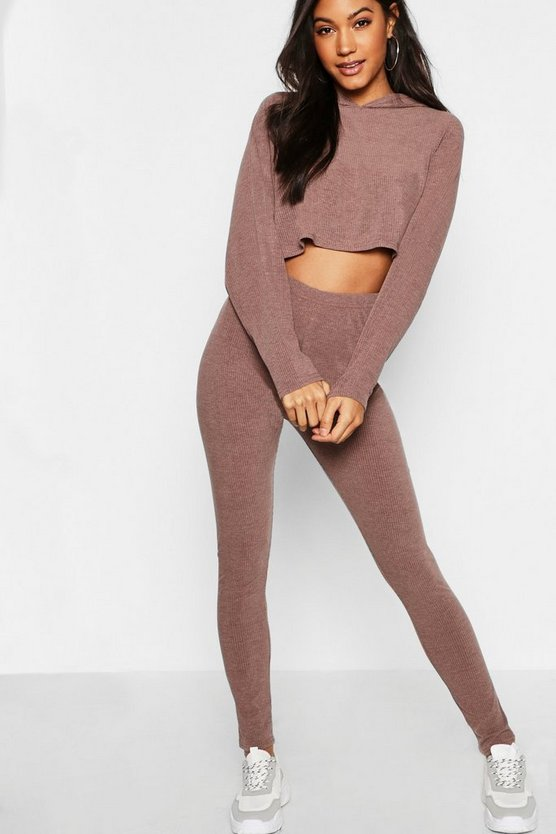 Womens Chocolate Ribbed Crop Hoodie & Legging Set