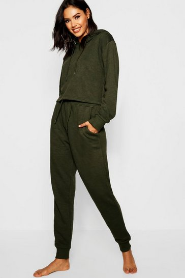 Womens Khaki Crop Hoodie and Jogger Set