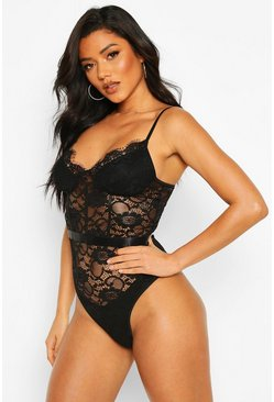 Womens Black Eyelash Lace Waist Detail Body