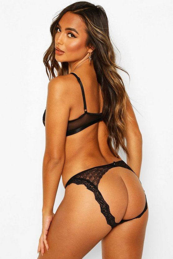 Womens Black Open Back Lace Knicker