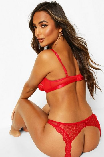 Red Open Back Lace Knicker