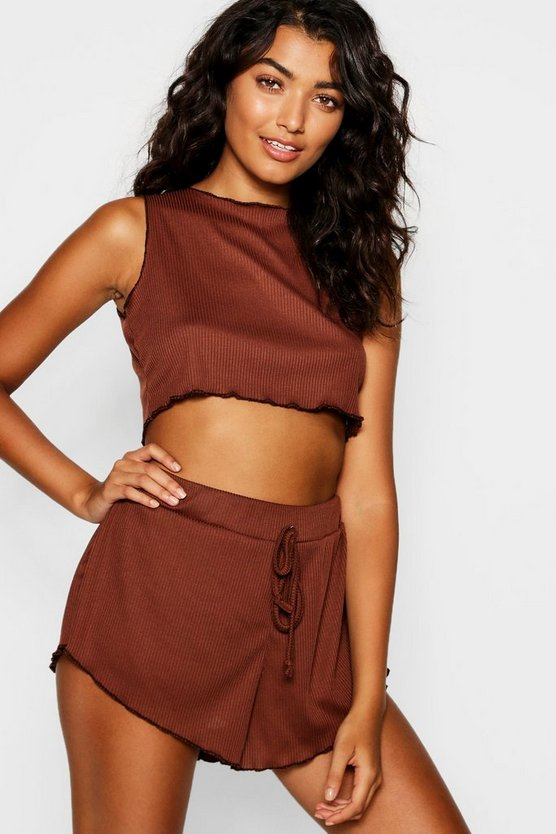 Ribbed Crop Lounge Short Set