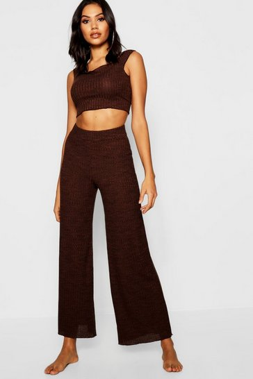 Womens Chocolate Lettuce Hem Ribbed Wide Leg Lounge Set