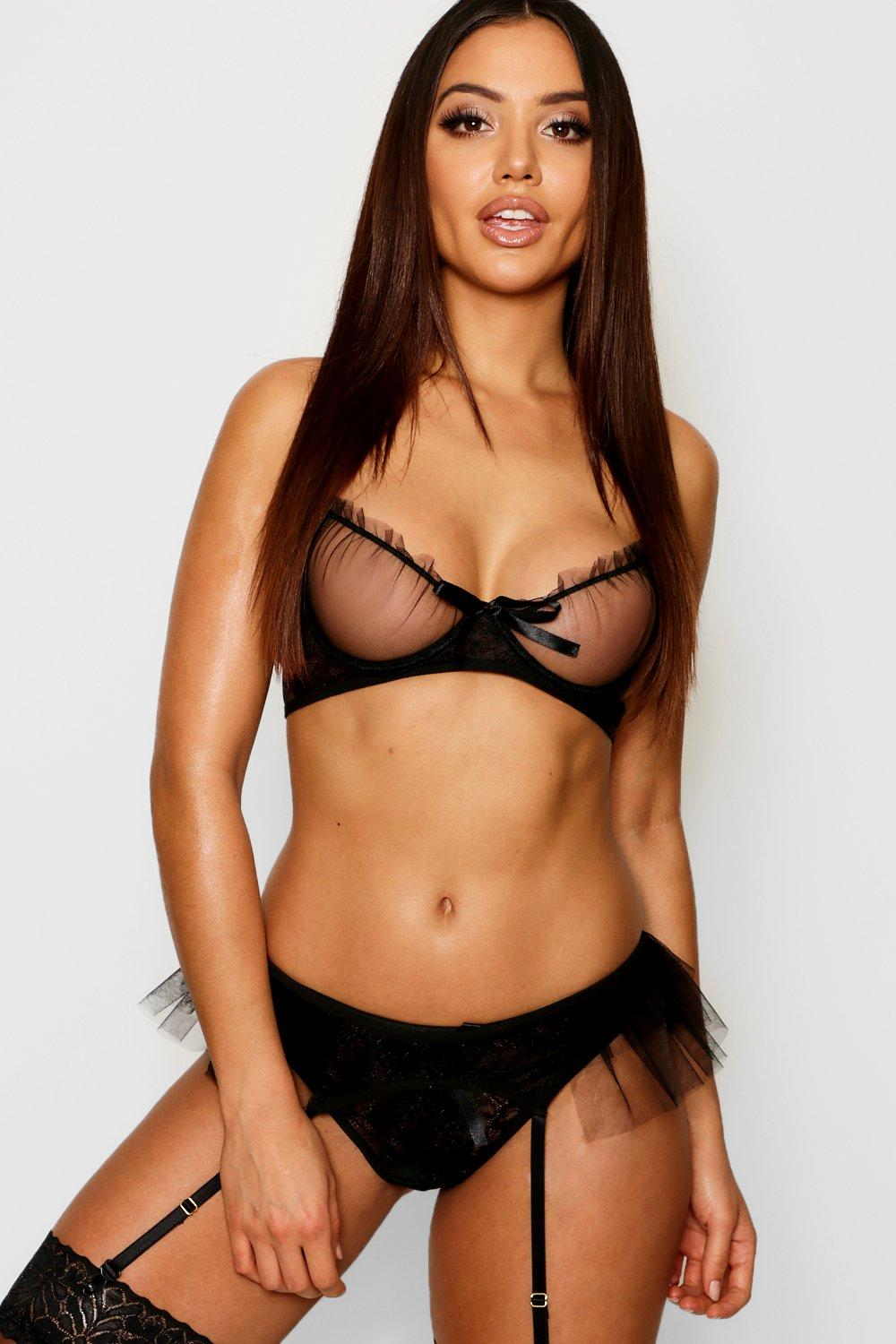 Ruffle Mesh and Lace Underwired Bra