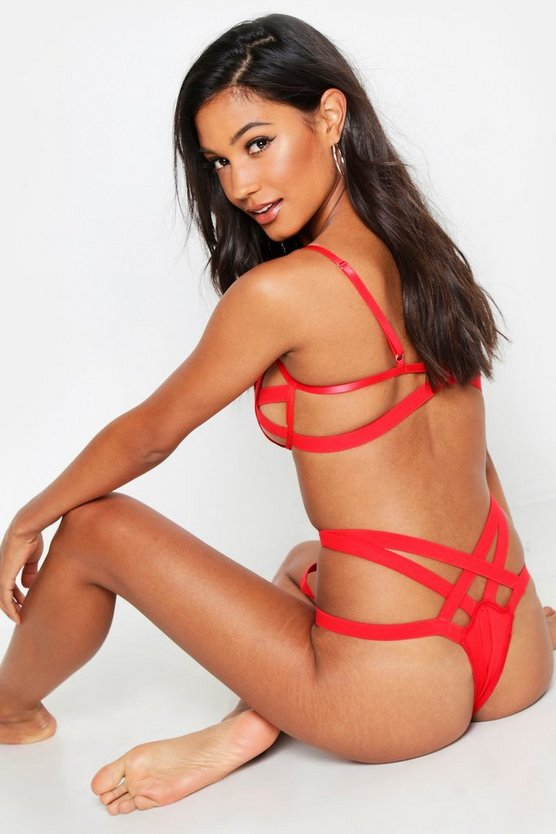 Womens Red Peek-A-Boo Underwired Strapping Set