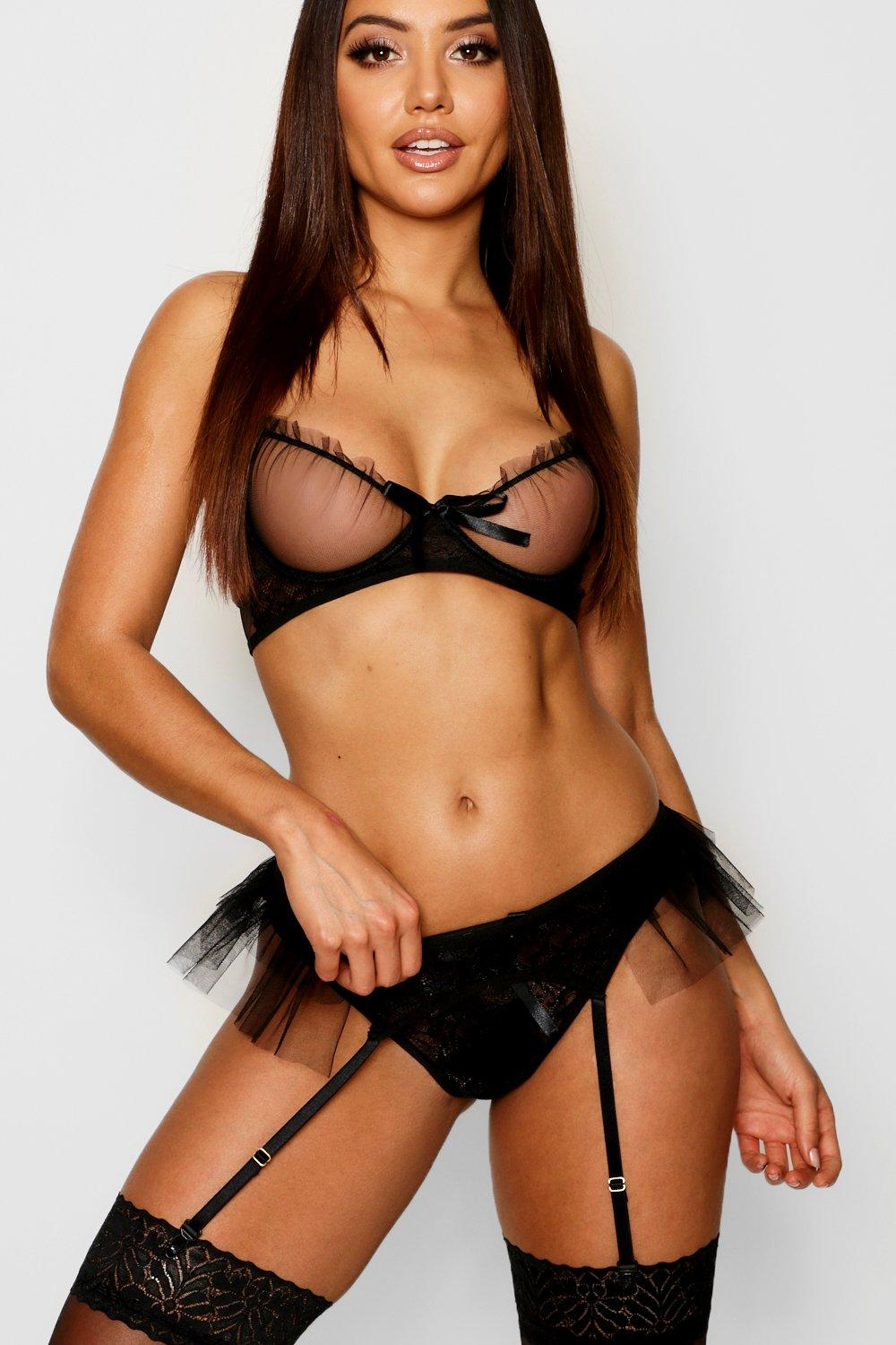 Ruffle Mesh and Lace Thong and Suspender Belt