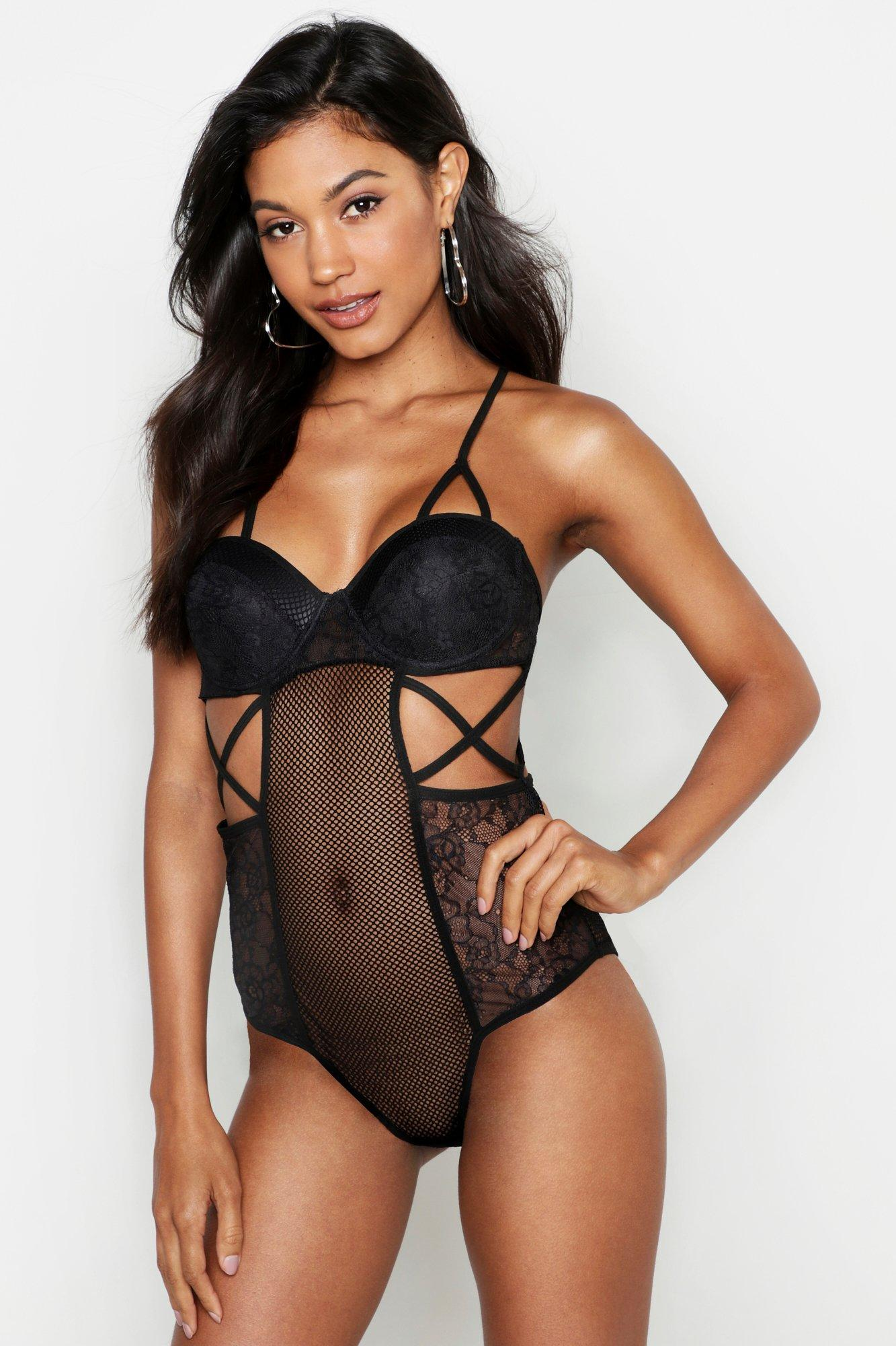 Racerback Cut Out Fishnet and Lace Body