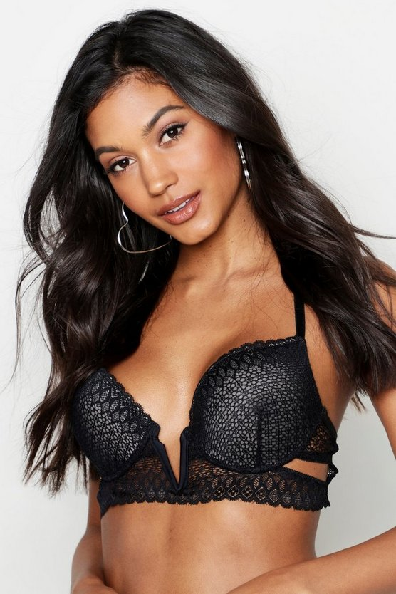Womens Black Geo Lace V Wire Racerback Bra