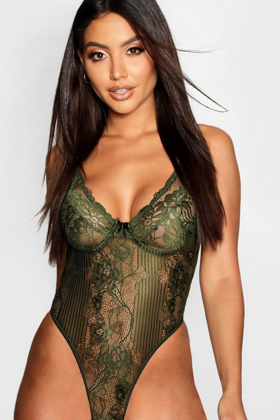 Womens Khaki Stripe Lace Body