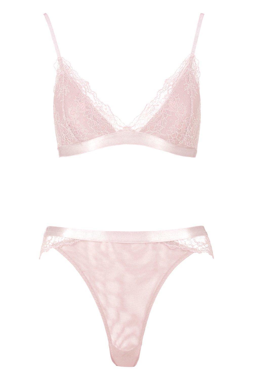 Set Brazilian Bralet amp; Lace Corded Padded blush azqT0w4B