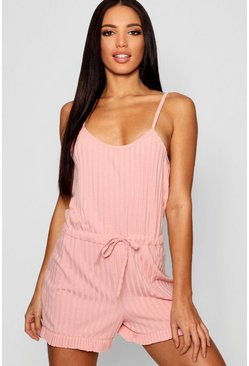 Womens Rose Ribbed PJ Romper