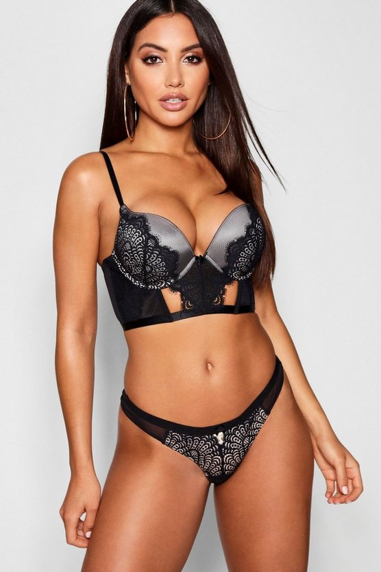 Womens Black Eyelash Lace Super Push Up Longline Bra
