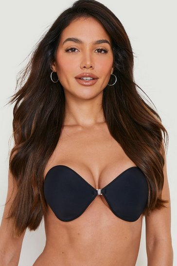 Womens Black Front Fastening Stick on Bra