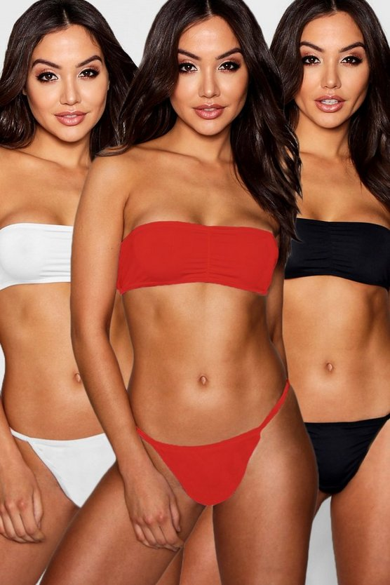 Womens Red 3 Pack Bandeau