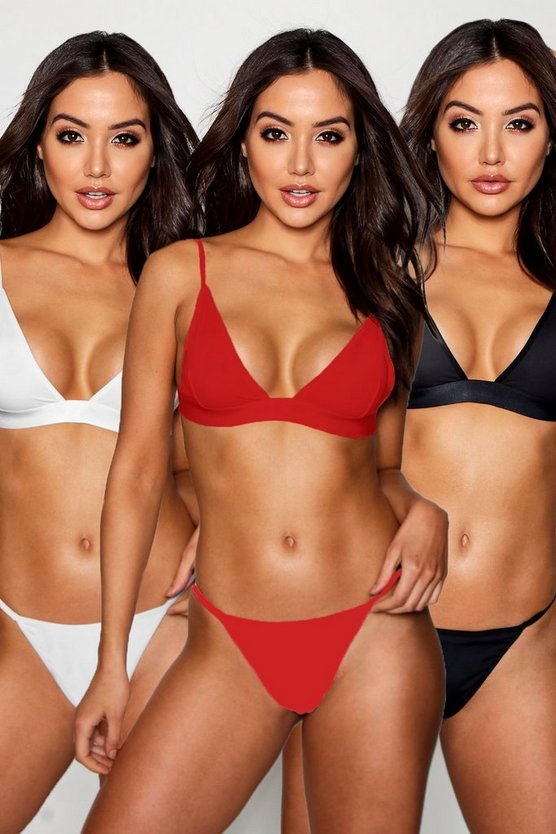 Womens Red 3 Pack Triangle