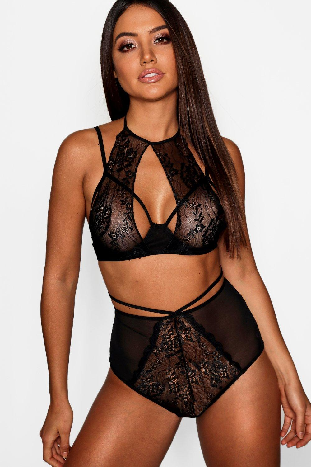 High black amp; High Neck Waist Set Bralet Knicker r1q6r0UP