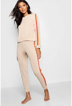 Womens Beige Rainbow Hooded Lounge Set