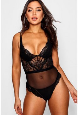Womens Black Lace and Mesh Bodysuit