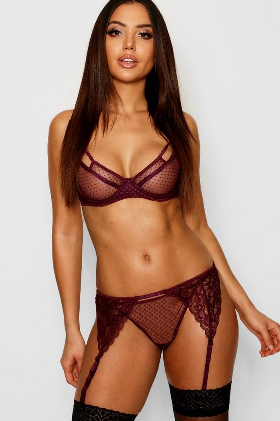 Womens Burgundy Bra Thong & Suspender Belt Set