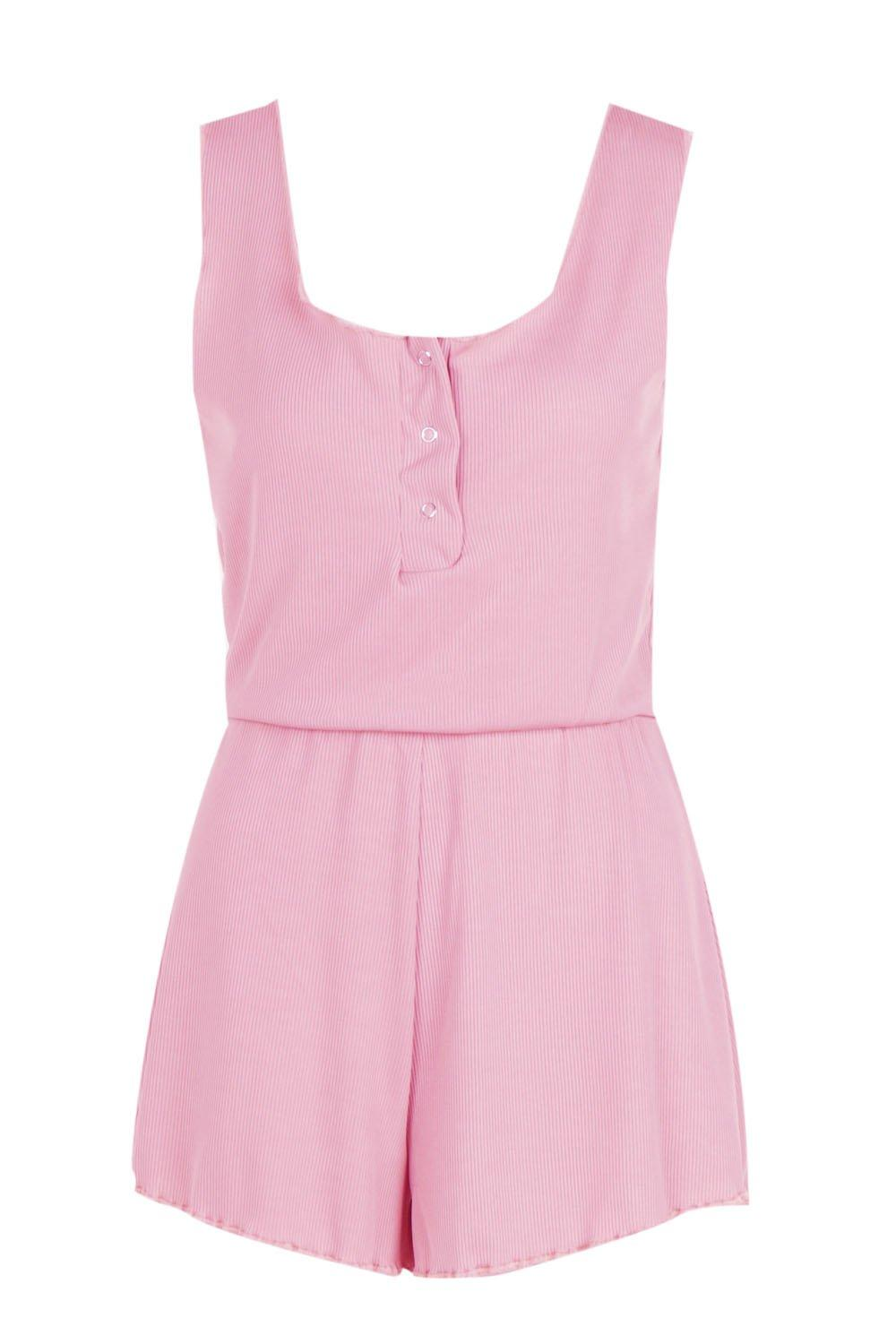pink Playsuit Daisy Lettuce Lounge Ribbed Hem 7xpqRw