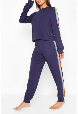 Womens Navy Rainbow Lounge Set