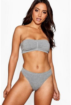 Womens Grey Seamless Thong