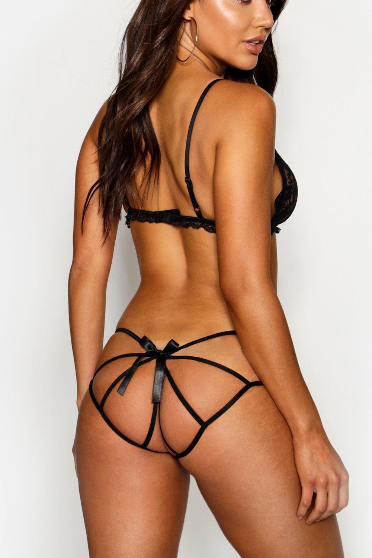 de en espalda negro lazo con tiras la Braguitas FqwApdxHp