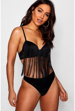 Womens Black Fringed Balconette Bra