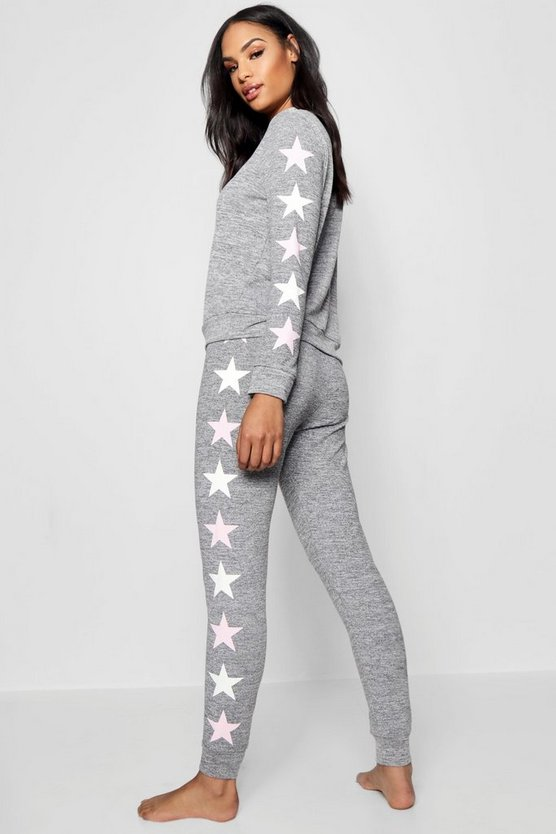 Womens Grey Pastel Star Side Lounge Set