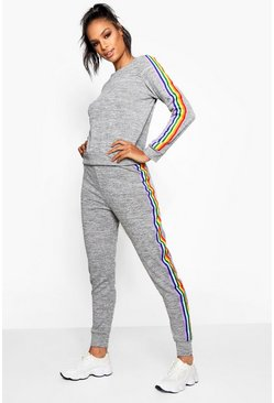 Womens Grey Rainbow Marl Lounge Set