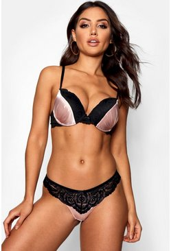 Womens Pink Super Push Up Satin Bra
