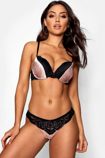 Pink Super Push Up Satin Bra
