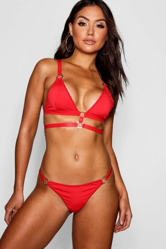 Womens Red Ring & Strap Thong