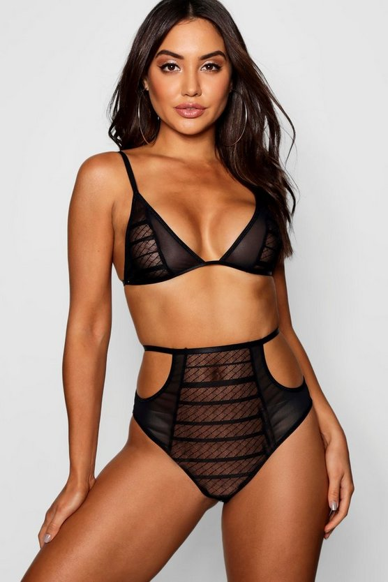 Polly Cross Lace High Waist Knicker & Bralet Set