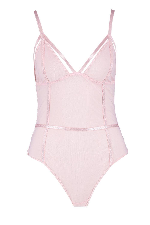 malla tanga en pálido con Body rosa estructurado cIgqHAfgBp