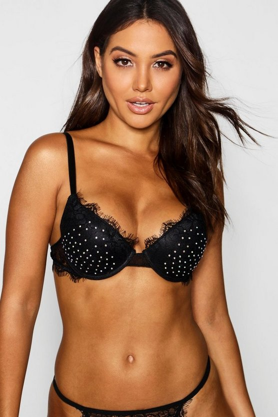 Womens Black Keira Diamante & Eyelash Lace Push Up Bra